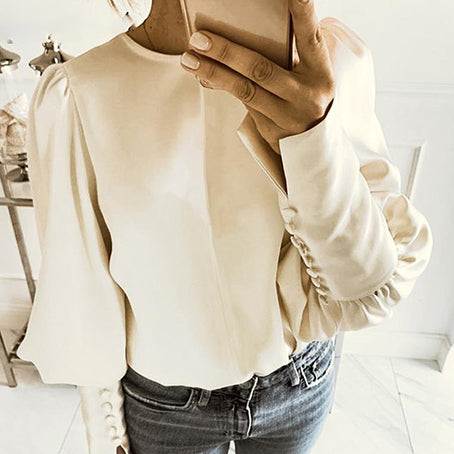 Women Fashion Satin Shirt Slip Long Sleeve Button Tops and Blouse Ladies Office Solid Color Blouse Mujer