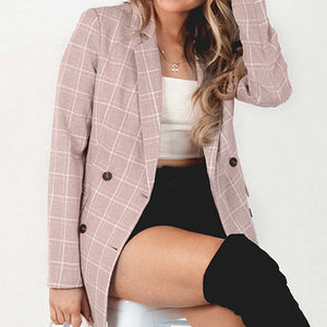 Plaid Blazer Coats Women High Fashion Elegant Vintage Ladies Blazers Button Pocket Coat