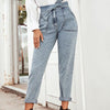 Women Jeans Casual High Street High Waist Jeans Female Fashion Knot Pockets Denim Pants Long Capris
