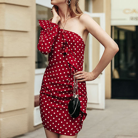 Polka Dot Women Dress One Shoulder Party Mini Bodycon Sexy Dress Female Ruffles Dresses Vestidos