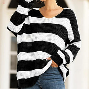 Women Striped Sweater Pullovers Loose V Neck Knitted Tops Jumpers Ladies Casual Streetwear Sweaters