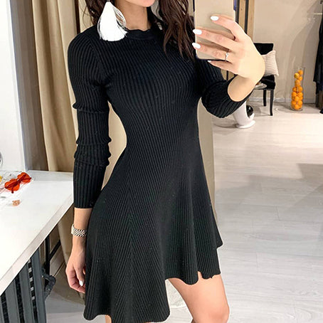 Long Sleeve Ruffles Sweater Dress Women Sexy Short Ladies Dress Slim Club Knitted Dresses Vestidos