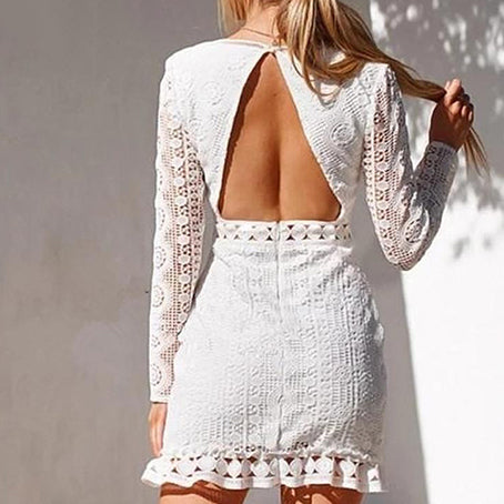 Women Elegant White Short Party Dress Female Long Sleeve Hollow Out Embroidery Dress Ladies Backless Dress