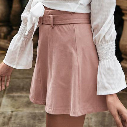 Women Fashion Suede Pink Skirts Sexy High Waist A Line Short Mini Skirts Female Casual Belt Short Skirts