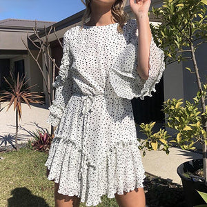 White Short Party Dress Fashion Polka Dot High Waist Pleated Mini Dress Casual Ruffle Chiffon Vestidos