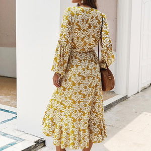 Women Yellow Boho Print Long Dress Female V Neck Wrap Lace up Ruffle Maxi Dress Ladies Lantern Sleeve Vestidos Plus Size