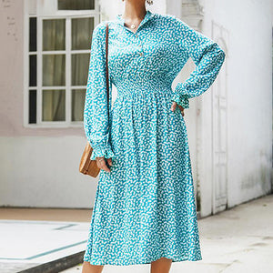 Women Vintage Long Sleeve Shirt Dress Fashion High Waist Lantern Sleeve Blue Dress Long Vestidos Plus Size
