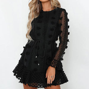 Women White Loose Short Dress Female Lace up Party Dress Black Long Sleeve Elegant Vestidos Mujer