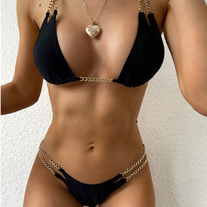 Women Micro Bikinis Mujer Chain Swimsuit Female Triangle Swimwear High Cut Bikini Bathing Suit Women Bathers Biquini