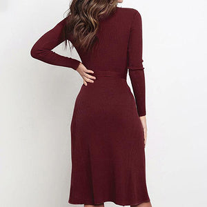 Women Sweater Dress Female Fashion Solid Color Sashes Knitted Midi Party Dress Ladies Plus Size Dress