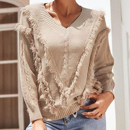 Solid Color Tassel Sweater Jumpers Women V Neck Long Sleeve Knitted Pullovers Ladies Red Warm Knitwears