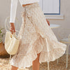 Beach Boho Skirts Women Floral High Waist Ruffles Casual Skirts Vintage Wrap Bow Ladies Skirt