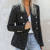 Women Fashion Tweed Blazer Jackets Female Double Breasted Jackets and Coats Ladies Office Check Jackets