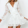 Sexy V Neck Embroidery Short Party Dress Women Long Sleeve Transparent High Waist Mini Dress Lady Vestido