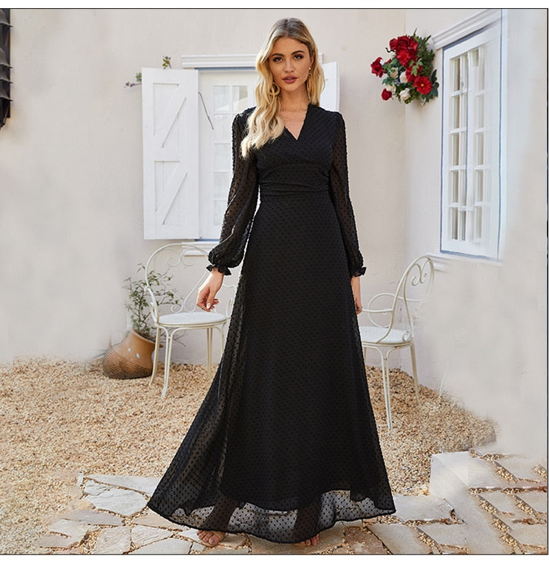 Women Autumn Chiffon Long Dress Bohemian V-neck Maxi Boho Dress for Femme Women V-neck Sexy Party Vestidos