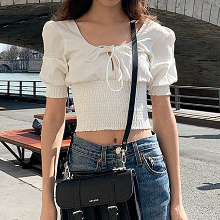 Solid Puff White Women Blouse Shirts Retro Sexy Short Tops Shirt Blouses Twist Lace Up Blusa Mujer
