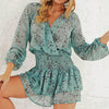 Sexy Chiffon Dress Women Ruffles Twist Femme Lantern Sleeve Short Party Plus Size Dress Vestidos