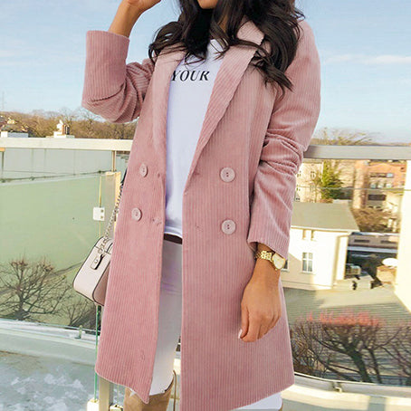 Pink Corduroy Women Long Coats High Fashion Vintage Outwear Ladies Solid Casual Button Coat
