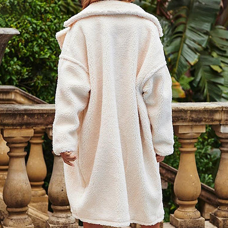 White Faux Fur Jackets Women Fashion Long Artificial Fur Coats Female Lambswool Jackets and Coats