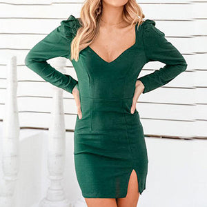 Women V Neck Long Sleeve Short Dress Female Business Chic Slim Slit Mini Dress Plus Size Vestidos