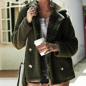 Fashion Women Teddy Coat Female Casual Faux Fur Coat Jacket Warm Plaid Pockets Long Sleeve Shaggy Coat Outwear