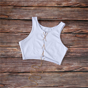 Metal Chain Sleeveless Crop Top Sexy Clubwear Women Adjustable Lace Up Hollow Out Tank Tops Tees Camisole