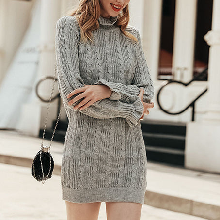 Turtleneck Sweater Dress Women Knitwear Sexy Short Dress Casual Ruffles Long Sleeve Dresses Vestidos