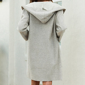 Pockets Winter Hood Women Blends Coat Solid Mid Blend Coats Gray Casual Ladies High Fashion Coats Jacket