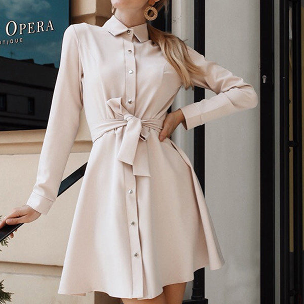 Women Casual Sashes a Line Party Dress Ladies Long Sleeve Turn Down Collar Office Dress New Fashion Mini Dress