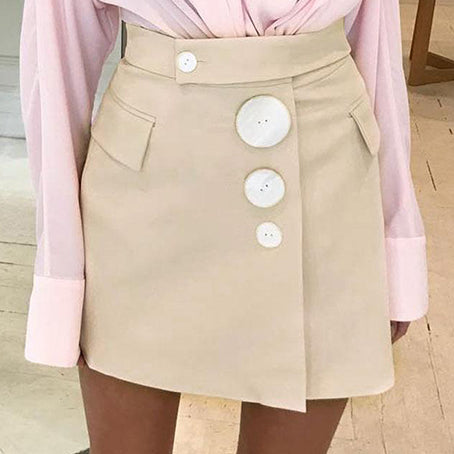 Women Fashion Short Skirts Female Apricot Sexy Short Mini Skirt Ladies Beautiful Shell Button Skirts