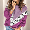 Patchwork Leopard Stripe Sweater Women Knitted Ladies Jumper Sweater Oversize Casual Plus Size Sweater Jumper
