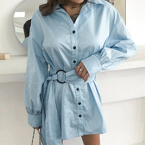 Fashion Women Shirt Dress Female Button Bow Sashes Short Dress Ladies Plus Size Clothing
