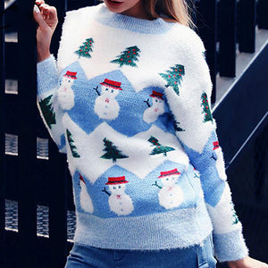 Cute Snowman Sweater Women Fashion Pullovers Female Warm Long Sleeve Knitted Tops Lady Plus Size Jumper