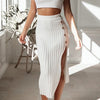 Solid Knitted Bodycon Ribbed Skirts Women High Waist Pencil Skirts Female Sexy Button Skirt