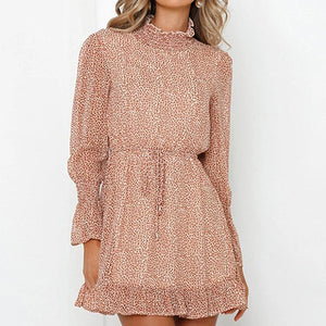 Fashion Leopard Print Turtleneck Dress Women Long Sleeve Polka Dot Short Party Dresses Female Holiday Vestidos