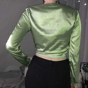 Sexy Knot Women Casual Ladies Blouse Shirts Vintage Deep V Puff Shirts Tops Blusas Mujer