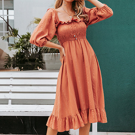 Elegant Vintage Brick Dress Woman Twist Female Party Night Long Dress Retro Ruffles Ladies Dresses Vestidos