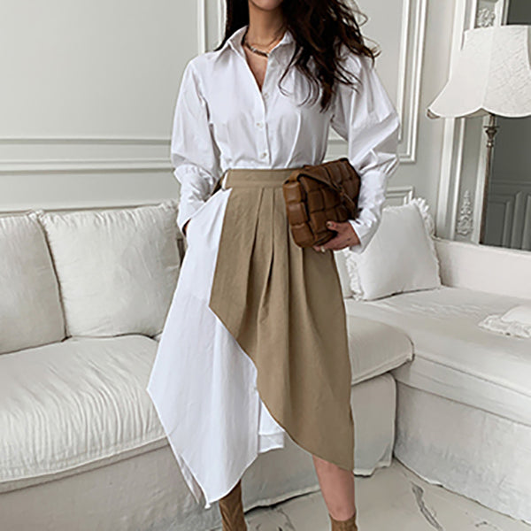 Women Clothes White Party Dress Office Dress Irregular Shirt Dress Elegant Long Sleeve Female Pleated Dress 2 Pieces
