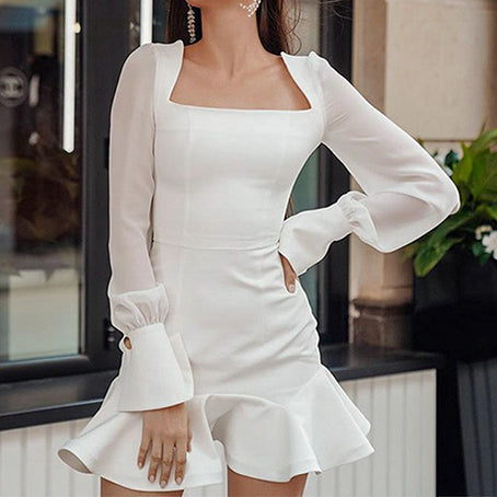 Ruffles Vintage Dress Women Elegant Feminino Dress Party Square Collar Ladies Dress Vestidos