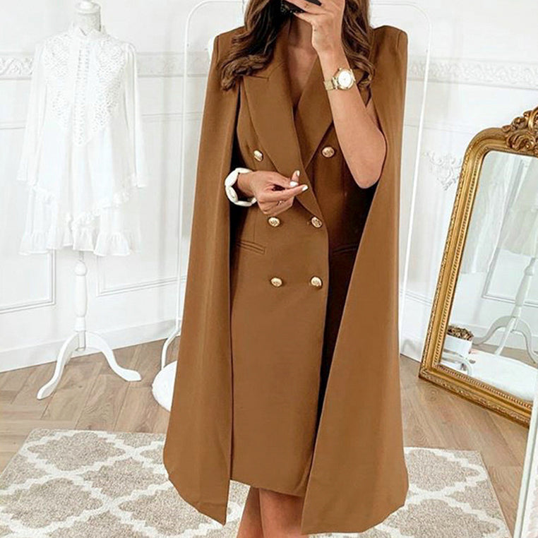 Chiffon Elegant Solid Cloak Dress Women Office Ladies Dresses High Fashion Feminino Dress Vestidos