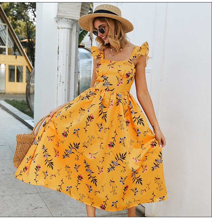 Women Square Collar Slim Yellow Dress Elegant Women A-line Summer Fashion Dress