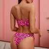 Women Sexy Bikini Push Up Bandeau Swimwear Female Leopard Print Swimsuit Tassel Bathing Suit Bathers Bodysuit Buquini Mujer
