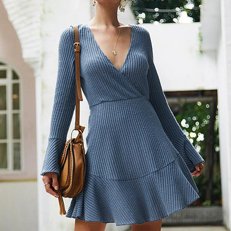 Women Fashion Knit Short Party Dress Female V Neck Sweater Dress Ladies Plus Size Dress Vestidos