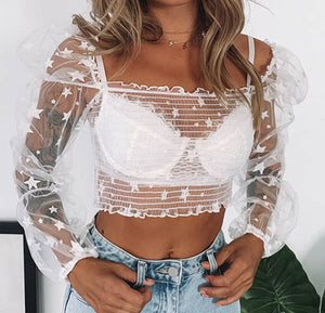Women Fashion Lantern Sleeves Crop Tops and Shirt Sexy See Through Mesh T- Shirt Chic Mujer Blusa