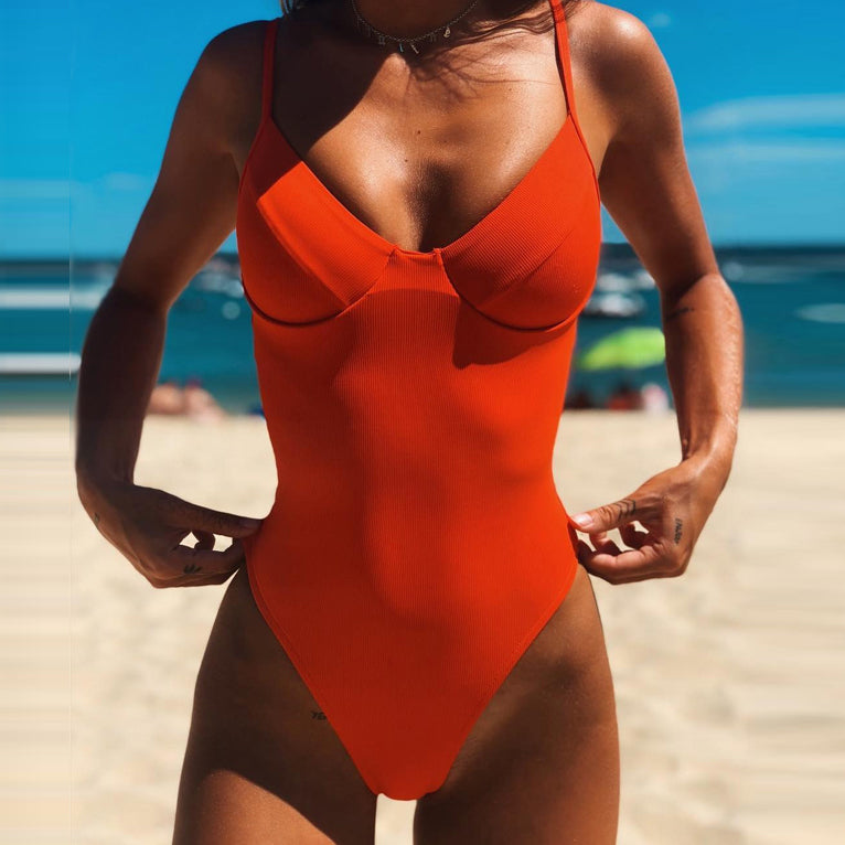 Push Up Thong Bikini High Cut One Piece Swimsuit Female Monokini String Sexy Bathing Suit Ribbed Backless Bodysuit Swimwear