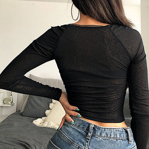 Sexy Blouse Strapless Blouse Shirts Blouses Sexy Lace Up Patchwork Transparent BLusa Mujer