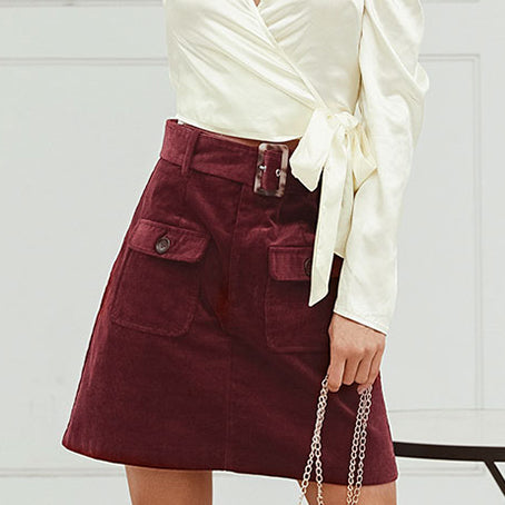 WomenCorduroy Skirts Female Fashion High Waist Burgundy Belt Mini Skirt Mujer Business Chic Skirts