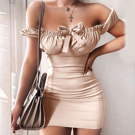 Sexy Off Shoulder Women Dress Solid Bodycon Bow Hollo Out Short Dresses Female Club Mini Dress Vestidos