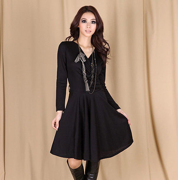 Women's Knee Dress Europe and The United States Simple Style Long Sleeve Cross Large Knitting Irregular Dress