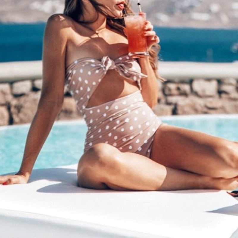 Summer Beach Holiday Women One Piece Swimsuit Sweet Polka Dot Knot Bathing Suit Female Hollow Out Push Up Monokini